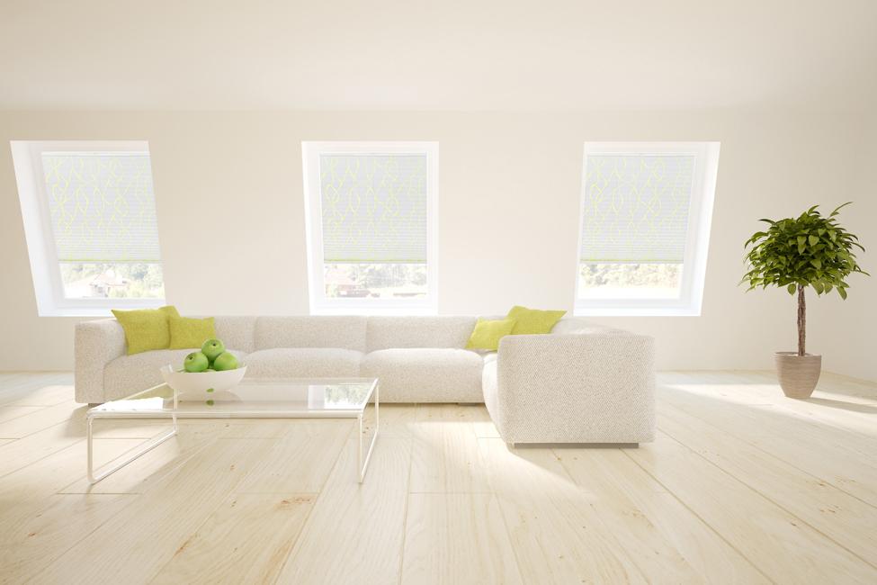 rolety plisowane w salonie