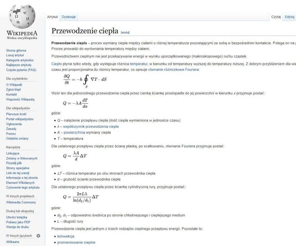 rolety zewnetrzne przewodzenie ciepła wzory z Wiki